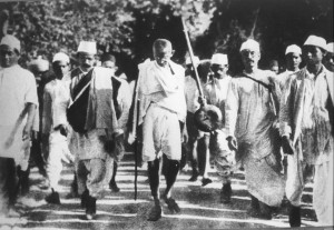 Gandhi on the Salt March, 1930; public domain photo; photographer unknown