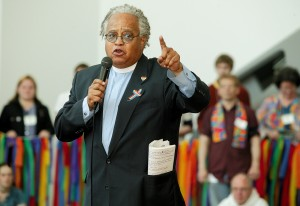 Rev. Phil Lawson rallying support for gays and lesbians; photograph by Mike DuBose.